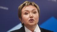 Natalja Filjowa bei eine Rede Anfang 2018