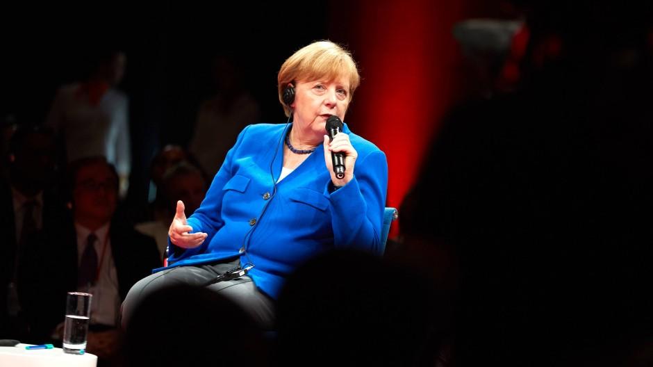 Angela Merkel am Montag auf dem Global Solutions Summit 2018.