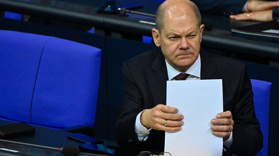 Bundesfinanzminister Olaf Scholz während einer Sitzung im Bundestag.