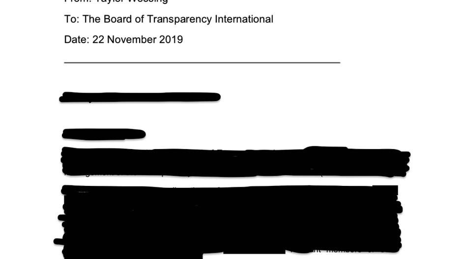 Ein Bericht über Transparency International soll Klarheit bringen - und ist voller Schwärzungen.