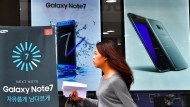 Die Werbeanzeigen für das Note 7 hängen trotz Rückruf weltweit in den Städten.