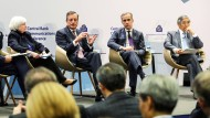 Janet Yellen (Fed), Mario Draghi (EZB), Mark Carney (Bank of England) und Haruhiko Kuroda (Bank of Japan) in Frankfurt