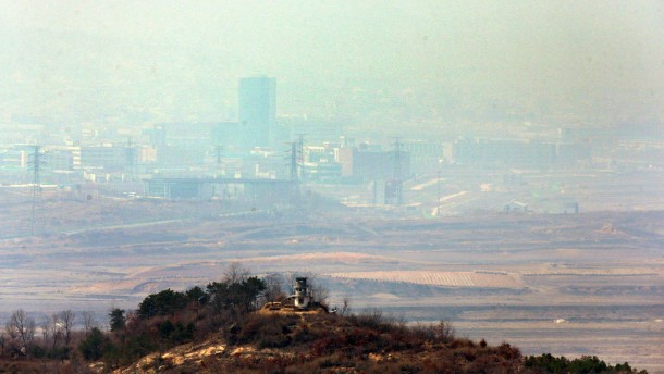 The inter-Korean Kaesong industrial complex and a North Korean guard post are seen in this picture taken from a South Korean military observation post near the truce village of Panmunjom in the demilitarized zone separating the two Koreas in Paju
