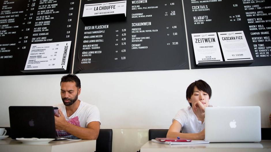 Beliebter Start-up-Arbeitsort: Das Café St. Oberholz in Berlin Mitte.