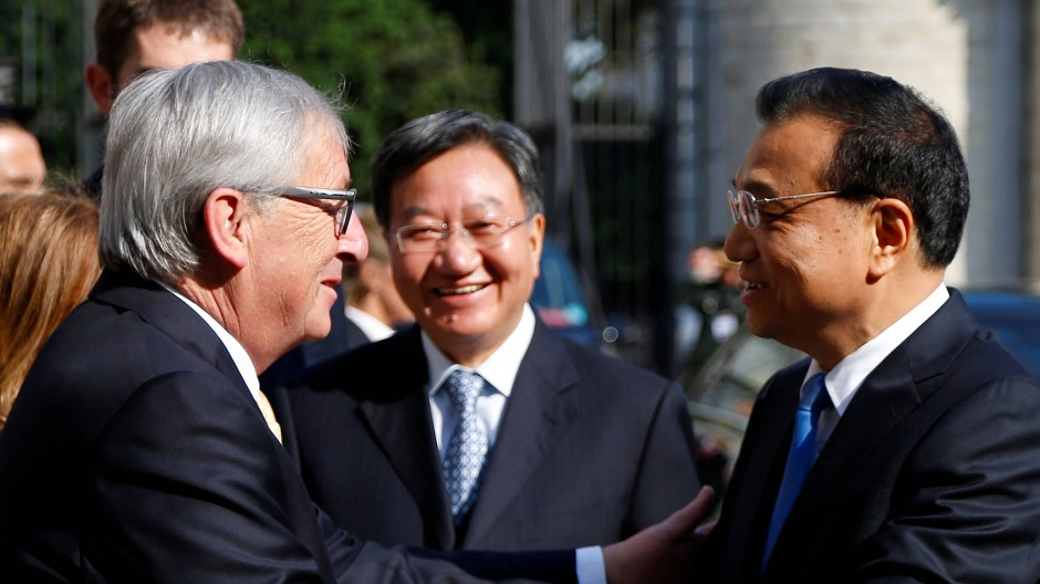 Freundlich, aber bestimmt: EU-Kommissionschef Jean-Claude Juncker und der chinesische Ministerpräsident Li Keqiang in Brüssel.