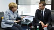 Angela Merkel und Emmanuel Macron während des EU-Gipfels in Brüssel vor wenigen Wochen