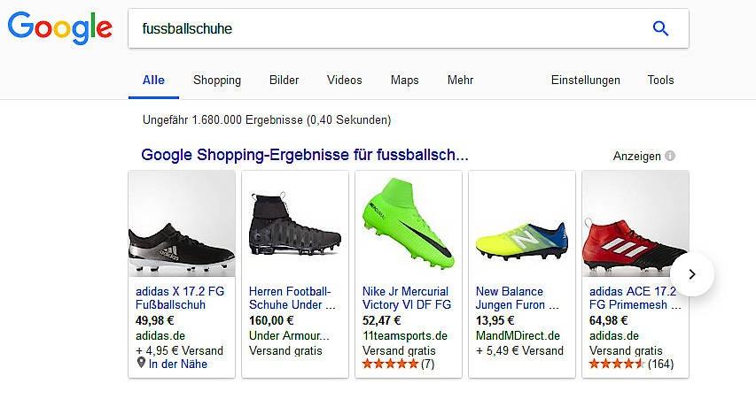 Der Stein des Anstoßes: die Google-Shopping-Leiste