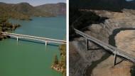 """Zum Vergleich: Die """"Green Bridge"""" über den Lake Oroville im Sommer 2011 (links) und 2014 (rechts)"""