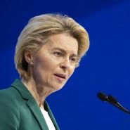 Die Kommissionspräsidentin der Europäischen Union, Ursula von der Leyen, hält auf dem Weltwirtschaftsforum in Davos eine Rede zur Zukunft Europas.