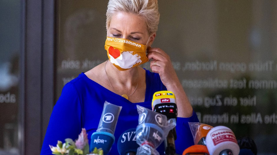 Manuela Schwesig zu Beginn der Pressekonferenz über den Fortgang des Projektes Nord Stream 2.