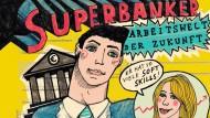 """Superbanker: Michael Szyszka, Jahrgang 1984, gewann den Wettbewerb mit dieser Illustration. Der Student aus Münster illustriert auch für die """"taz""""."""