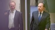 Uriel Sharf (rechts) und Verteidiger auf dem Weg ins Landgericht.