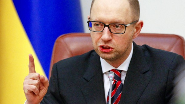 Ukraine's Prime Minister Arseny Yatseniuk speaks during a government meeting in Kiev