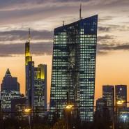 Die Skyline von Frankfurt: Im Vordergrund der EZB-Turm