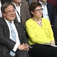 Armin Laschet, Annegret Kramp-Karrenbauer und Friedrich Merz während der CDU-Regionalkonferenz der Bewerber um den CDU-Vorsitz im November 2018.