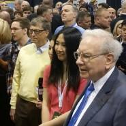 """Warren Buffett (r.) auf dem diesjährigen """"Woodstock für Kapitalisten"""" - mit dabei war auch Microsoft-Gründer Bill Gates."""