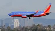 Im Anflug: Eine Boeing 737 von Southwest vor der Landung in Los Angeles.