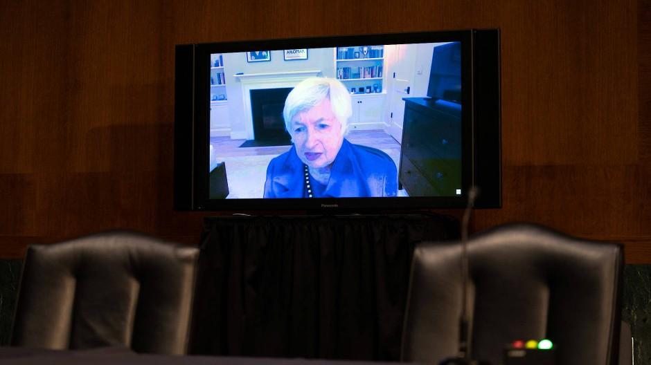 Per Video zugeschaltet: Janet Yellen sagt vor dem Senat aus