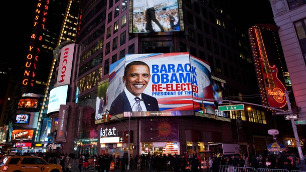 Obama win celebrated in Times Square