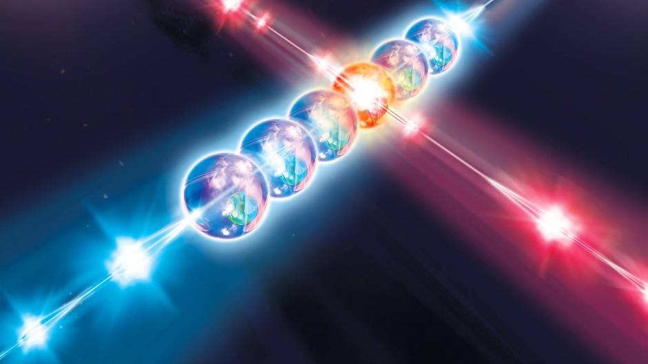 Ionen, die von unterschiedlichen Laserstrahlen manipuliert werden – auch das ist ein Ansatz im Quantencomputing.