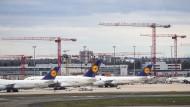 Lufthansa-Maschinen parken am Frankfurter Flughafen.