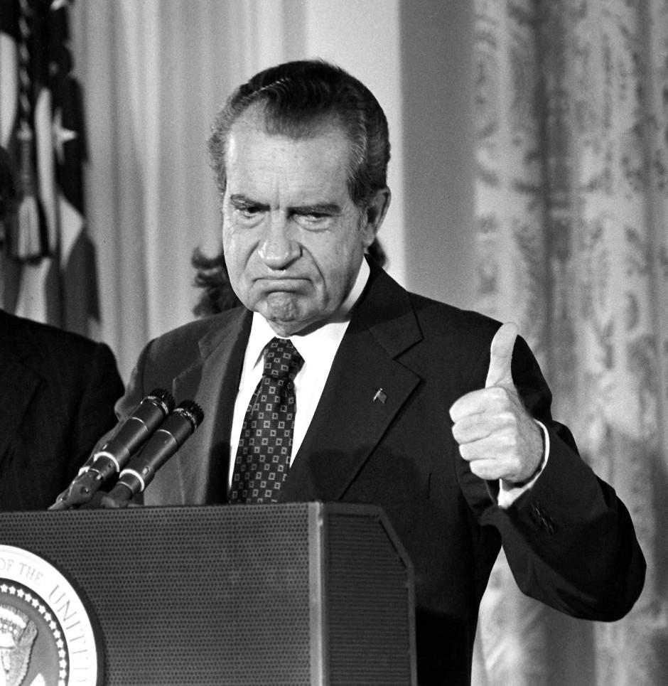 Richard Nixon verabschiedete sich nach seinem Rücktritt am 9. August 1974 von seinen Mitarbeitern.