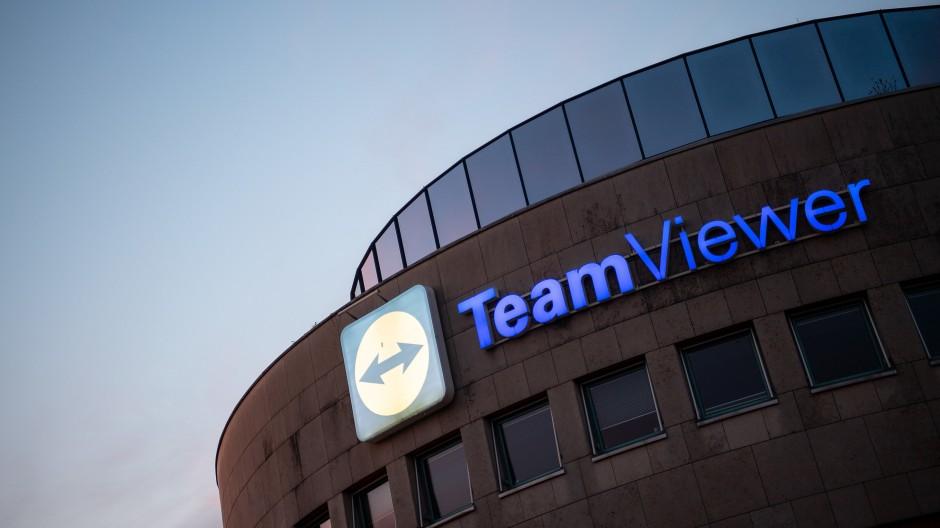 Das Logo des Software-Herstellers Teamviewer am Hauptsitz in Göppingen