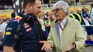 Als Macher in der Menge: So Sieht sich Bernie Ecclestone (hier im Gespräch mit Red Bull-Teamchef Christian Horner) am liebsten.