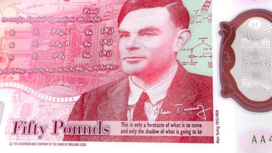 Alan Turing ist auf der neuen 50-Pfund-Note abgebildet.