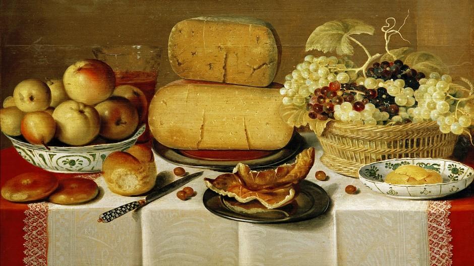 Tischlein, deck dich! Stillleben mit Käselaiben und Früchten, von einem Maler aus dem Umkreis von Floris Claesz van Dyck (1575-1651)