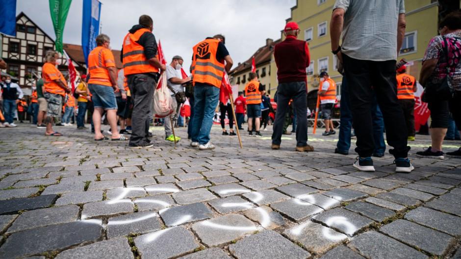 Mehr Lohn: Im August demonstrierte die IG Bau in Bayern für höhere Gehälter.