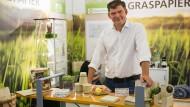 Die Gras-Papierschale für Bioäpfel