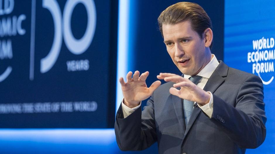 Sebastian Kurz spricht beim World Economic Forum in Davos.