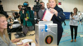 Solberg, chairman of the Conservative Party of Norway, casts her vote during the general election at a polling station at Apeltun School in Bergen
