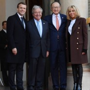 Promis unter sich: Frankreichs Präsident Emmanuel Macron, UN-Generalsekretär Antonio Guterres, Weltbank-Präsident Jim Yong Kim und Brigitte Macron