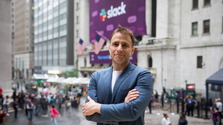 Stewart Butterfield am Tag des Börsengangs von Slack im vergangenen Jahr
