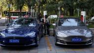 Nicht ohne chinesische Partner? Noch stammen die Tesla-Fahrzeuge in Peking aus amerikanischer Produktion.