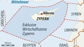 Karte / Zypern / Gasförderzonen
