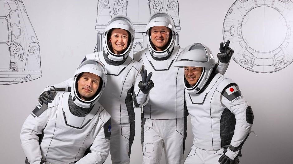 Vier Astronauten im Kennedy Space Center in Amerika: