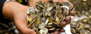 Eine Menge Münzen: 18,5 Milliarden Euro Überschuss erzielt der Staat.