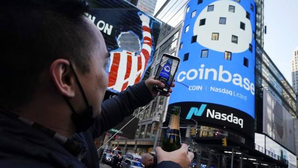 Krypto-Börse Coinbase verzwanzigfacht den Gewinn