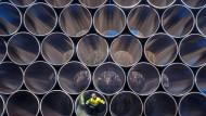 Rohre für Nord Stream 2: Ein Mitarbeiter prüft die tonnenschweren Rohre für die künftige Ostsee- Erdgasstraße.