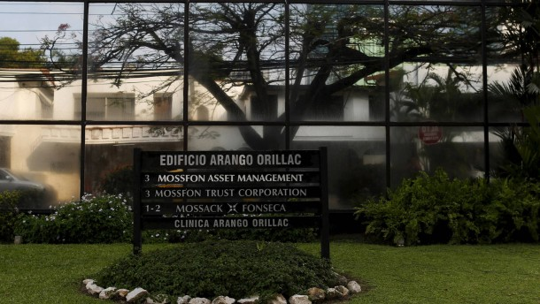 A company list showing the Mossack Fonseca law firm is pictured on a sign at the Arango Orillac Building in Panama City