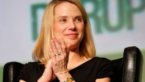 File photo of Yahoo CEO Marissa Mayer claps during TechCrunch Disrupt SF 2012 in San Francisco