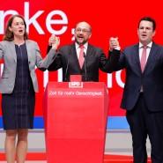 Jubel in der SPD-Spitze: Thomas Oppermann, Katarina Barley, Martin Schulz, Hubertus Heil, Manuela Schwesig