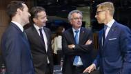 Die Finanzminister Finnlands (Alexander Stubb), Luxemburgs (Pierre Gramegna), Hollands (Jeroen Dijsselbloem) und Britanniens (George Osborne) (v.r.n.l.)