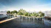 Auf dem Hudson River in New York soll dieser spektakuläre Park auf Stelzen entstehen. Den Großteil der 130 Millionen Dollar Baukosten tragen zwei reiche Familien.