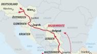 Die Balkanroute ist blockiert, nun suchen Flüchtlinge neue Routen (gestrichelte Pfeile).