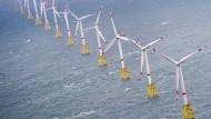 Sie stehen fest auf dem Meeresboden: Offshore-Windräder vor der Insel Sylt