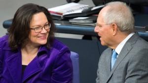Nahles an Schäuble: Das steht nicht zur Debatte